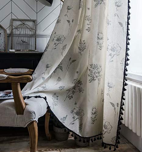 Deamos Boho Vorhänge Landhausstil Baumwolle Leinen Quaste Gardinen, Beige und Schwarz Blumen Muster Küche Wohnzimmer Schlafzimmer Gardine,1 Stück,B150×H240cm