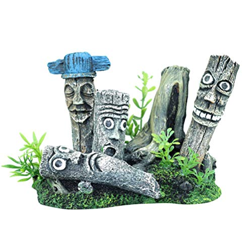 Balacoo Aquarium Moai Ornament Simulation landschaftsbau Handwerk Ostern Insel Moai Kopf Statue treibholz stamm Ornament Aquarium landschaftsbau Aquarium Ornament für Shop Aquarium büro