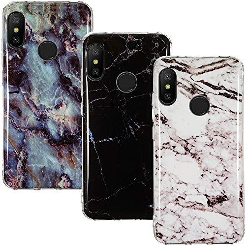 CLM-Tech Funda 3X Compatible con Xiaomi Mi A2 Lite/Redmi 6 Pro, Silicona TPU Case Cover Carcasa [3 Pack], Mármol Negro Blanco Multicolor
