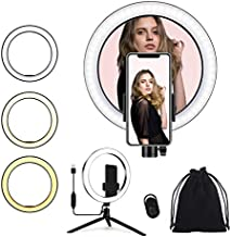 COGA Ring Light | 10 inch with Tripod Stand & Phone Holder | - LED Selfie Ring Light with Soft Pouch, for Live Stream/Makeup/YouTube, Compatible with Phones and Cameras