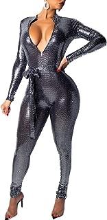 c669f871f698 Alion Women s Sexy Sparkly V Neck Slim Fit Party Clubwear Bandage Romper  Jumpsuit