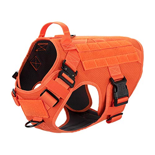 """ICEFANG Tactical Dog Harness with 2X Metal Buckle,Working Dog MOLLE Vest with Handle,No Pulling Front Leash Clip,Hook and Loop for Dog Patch (L (Neck:18""""-24"""" ; Chest:28""""-35""""), Safety Orange)"""