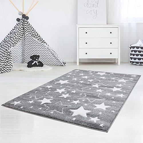 carpet city Kinderteppich-Läufer Flachflor Bueno Konturenschnitt Glanzgarn mit Sterne in Grau für Kinderzimmer, Größe: 80x150 cm