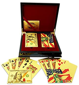 Big Texas Mall 24k Gold Poker Playing Cards w/2 Deck Mahogany Gift/Display Box w/2 Gold Bitcoin Coins Professional Qlty Ben Franklin $100 Bill & American Flag Gold Foil Plated Prestige Set w/Cert..