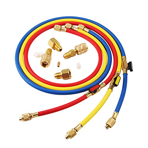 Lichamp 3 Pieces 5FT AC HVAC Manifold Gauge Hose Kit with Ball Valve Tension Hose and 4 Pieces Hose Adapters Fits R134A R410A R404A R12 R22 R502 R1234YF Refrigerants