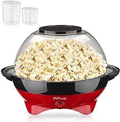 MVPower Popcorn Machine, 800W Popcorn Maker, wymienny nagrzewka powierzchni non-stick powłoki i duża pokrywa, z 2 kubki pomiarowe (100 ml, 30 ml), BPA-Free, 5 litrów