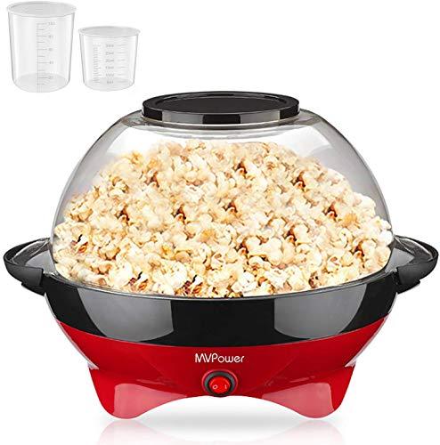 MVPower Popcornmaschine, 800W Popcorn Maker, Abnehmbares Heizfläche Antihaftbeschichtung und große Deckel, mit 2 Messbechern (100 ml, 30 ml), BPA-Frei, 5 Liter