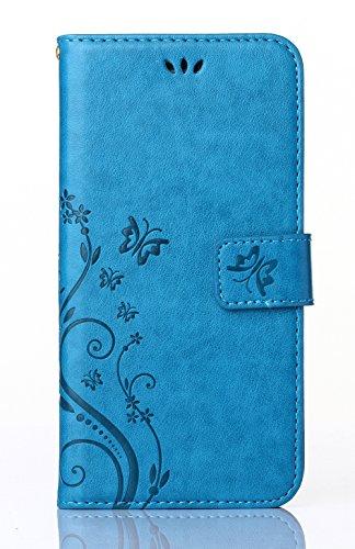 C-Super Mall-UK® Samsung Galaxy S3 Mini GT-i8190-Fall:PU geprägtes Schmetterling und Blume Leder-Mappen-Standplatz -Schlag-Fall für Samsung Galaxy S3 Mini GT-i8190(Blau)