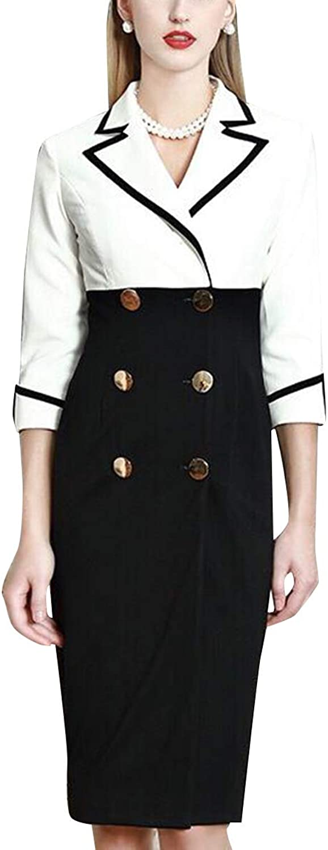 Double Breasted color Block Lapel Shirt Long Sleeve Elegant Women's Midi Dress