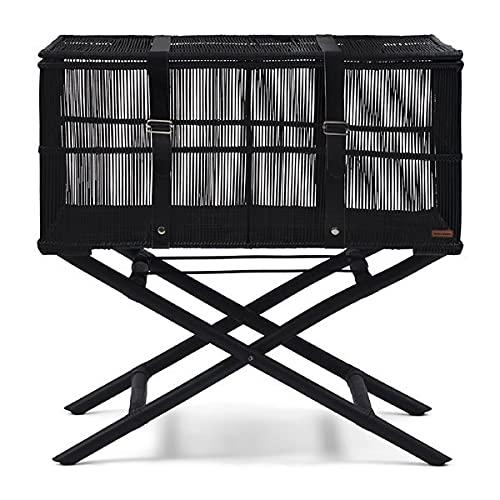 Riviera Maison - Baúl con soporte para maleta - RM Destination - Ratán, Babus, piel - Negro - 55 x 37 x 75 cm - L