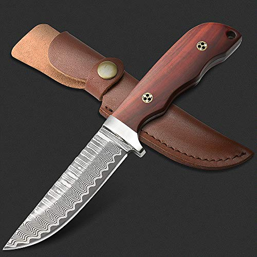 NedFoss Damastmesser jagdmesser, Jagdmesser damast & Gürtelmesser mit Leder Holster und hochwertigem Geschenkbox, scharf (schwarz)