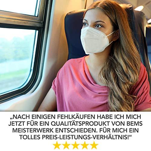 FFP2 Maske CE Zertifiziert - 20x FFP2 Masken (NR) - Inkl. Clip für höchsten 5-lagige Premium Atemschutzmaske FFP2 ohne Ventil für maximale Sicherheit - Mundschutz FFP2 BEMS Meisterwerk - 6