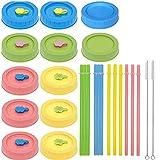 JGONas 26 coperchi in vetro per conserve, cannucce, coperchio per spazzola di pulizia, tappo antigoccia, per barattoli da 70 mm, multicolore