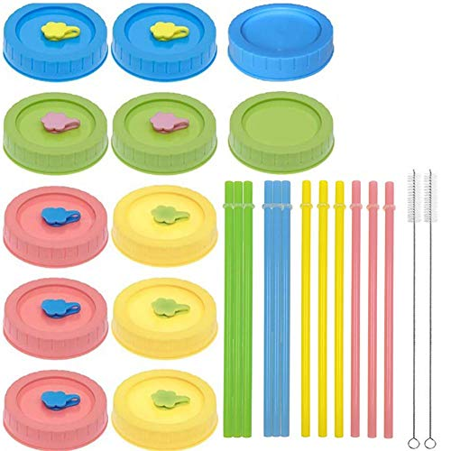 JGONas 26 tapas de cristal para conservas, pajitas, cepillo de limpieza, tapa antigoteo, para tarros de 70 mm, multicolor