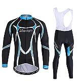 Camiseta de ciclismo para hombre Moutain Bike Set de ciclismo para hombre, chaqueta de manga larga, transpirable y de secado rápido, culottes y pantalones acolchados 5D de gel ZDWN