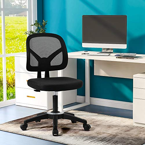 Office Essentials Mesh Back Swivel Desk Chair Ergonomic Computer Chairs No Armrest Height Adjustable Seat Load Capacity up to 250 lbs, Black