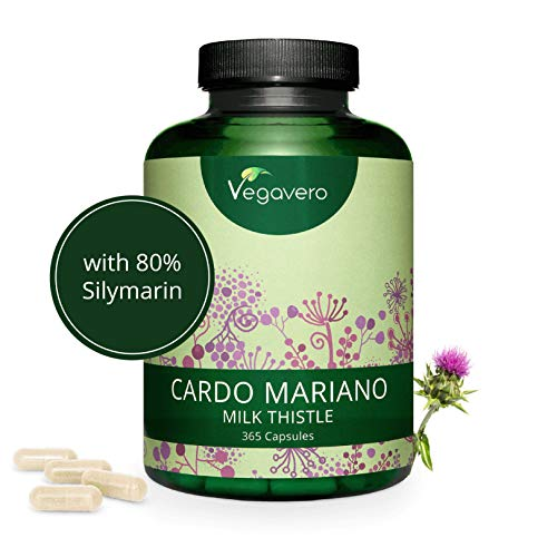 CARDO MARIANO Vegavero | 420 mg | 365 capsule | con 80% di Silimarina | Depurativo e Disintossicante FEGATO | Vegan