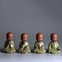 Ornaments Monk Buddha Statue Ceramic Buddhist Figurines Zen Little Teapet Porcelain Kiln Products Home Decoration-4_Pcs_Di...