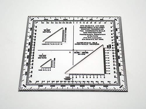 MTT PL GTA 05-02-012 Jun 2008 - Koordinatenskala und Winkelmesser für Winkelmessungen und Kartenplottung für Outdoor-Navigation mit Karte und Kompass, Wandern, Orientierung und Survival.