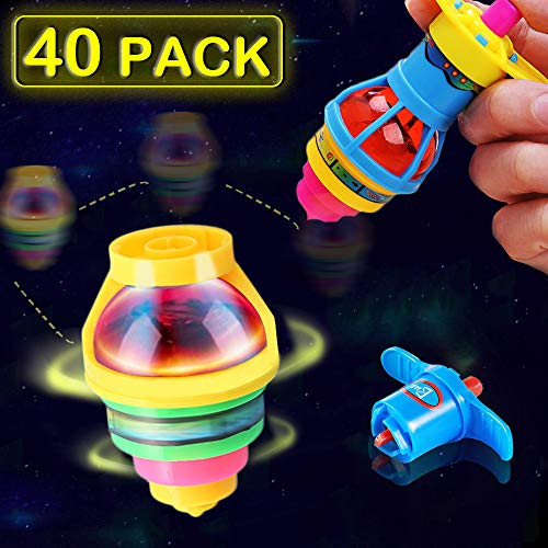 AULY 40-Pack LED Light Up Spinning Top Toys,Flashing Spinner Tops with Gyroscope Glow in The Dark Birthday Party Favors for Kids
