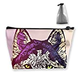 Makeup Bag Cosmetic Dog Head Animal Portable Cosmetic Bag Mobile Trapezoidal Storage Bag Travel Bags with Zipper