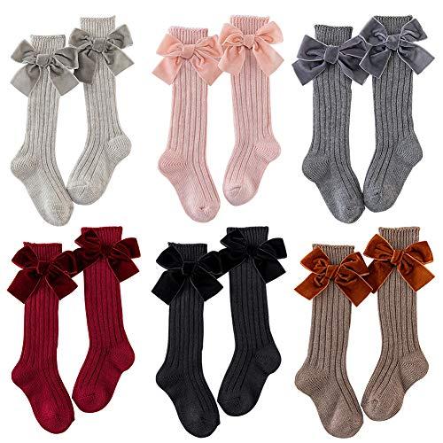Medias para recién nacidos suaves para uniformas, transpirables, de rodillas en casa, lindas con lazo de algodón peinado, para invierno, cálidas, regalo para niños de larga duración (M6 colores)