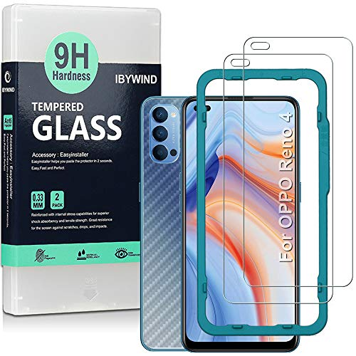 Ibywind Panzerglas für das Oppo Reno 4 5G [2 Stück] mit Carbon Fiber Skin für die Rückseite, Inklusive Easy Install Kit (Zentrierrahmen)