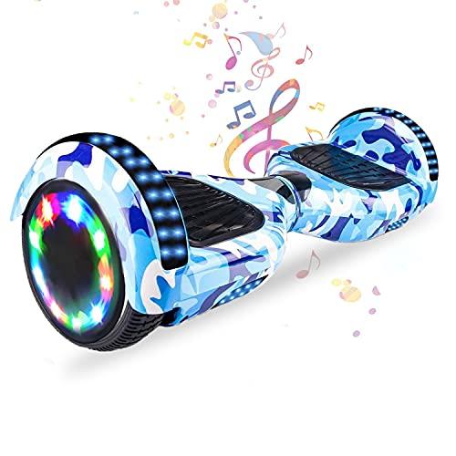 HST 6,5 Zoll Hoverboard Self-Balancing Scooters Elektroroller mit Bluetooth und LED-Beleuchtung, Offroad Waveboard für Kinder und Erwachsene (Tarnung Blau)