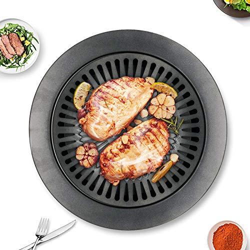 ZFLL Koreaanse inklapbare barbecue, antiaanbakgrill met ronde pannengrill gemakkelijk te reinigen barbecue-grillaccessoires van koolstofstaal