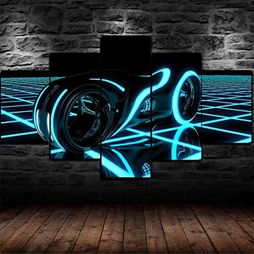 AWER Cuadros Modernos Impresión de Imagen Artística Digitalizada | Lienzo Decorativo para Tu Salón o Dormitorio | Chase de ciclo ligero legado | 5 piezas de lienzo de arte de pared 200x100cm XXL