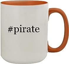 #pirate - 15oz Hashtag Colored Inner & Handle Ceramic Coffee Mug, Orange