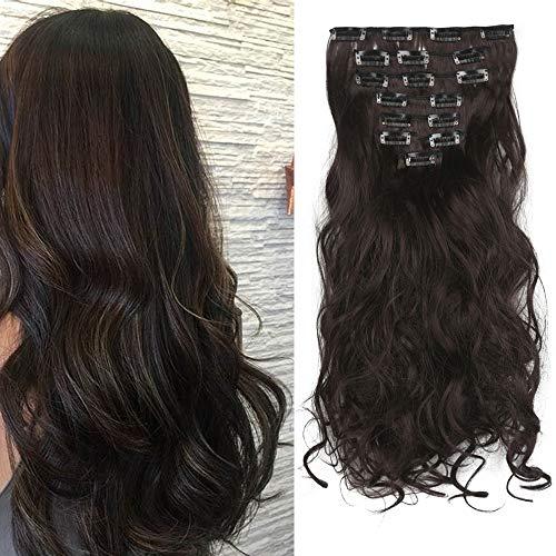 Extension a Clip Cheveux Naturel Ondulé Bouclés Extensions Cheveux Clips 8 Bands Clip in Hair Extension Curly Wavy Postiche (Marron foncé)