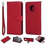 nancencen Kompatibel mit Motorola Moto G6 Handyhülle, Magnetische TPU 2 in 1 Wallet (Karten Slot) Schutzhülle PU Leder Flip Cover Lederhülle Hülle - Rot