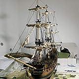 ZKRZ 1: 96 Escala 3D Madera Negro Perla Velero Kit De Barco Modelo De Barco Decoración del Hogar Modelo Kits De Construcción Regalos para Niños Juguetes De Aprendizaje