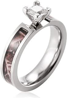 SHARDON Women's 5mm Titanium Brown Tree Camo Wedding Ring with White Square CZ Stone