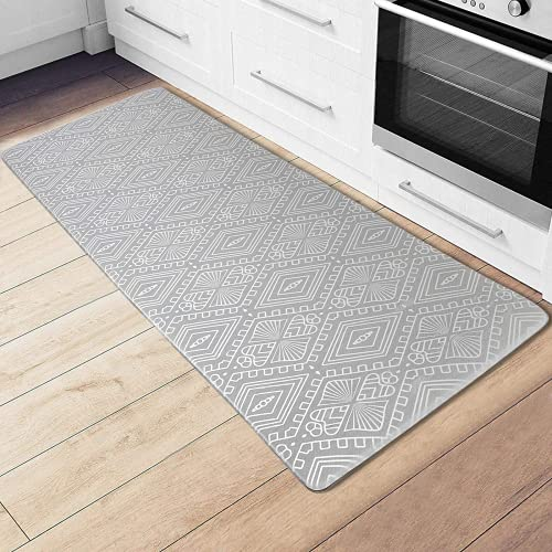 CRZDEAL Kitchen Mat and Rugs (17.1'' x 47.2'') Long Ergonomic Comfort Anti Fatigue Mat Thick PVC Non-Slip Waterproof Cushion Floor Mat for Kitchen, Bathroom, Laundry, Sink or Office (Grey)
