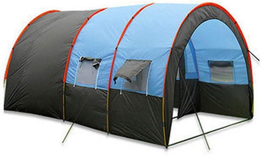 XBR Tente de Camping Tunnel de Camping avec 2 Chambres et 1 Un Hall Tente Tunnel 100% Imperméable 5-8 Personnes Equipement du Camping(Bleu)