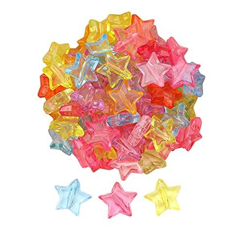 Harilla 500 Cuentas de Estrella acrílicas, Cuentas Encantadoras en Forma de Estrella, Cuentas de Estrella de acrílico Transparente de 11 mm