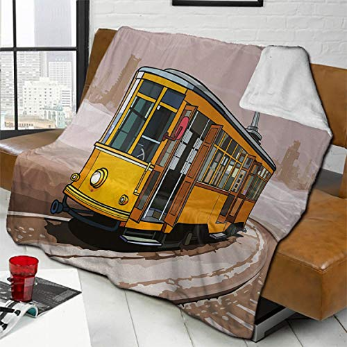 Zara Henry Modern Home Bedroom Wool Blanket Yellow Train on Rail Roads Winter Scenery Old Suburban Illustration Super Soft and Comfortable Warm Lamb Blanket 63'x87' Yellow and Light Brown