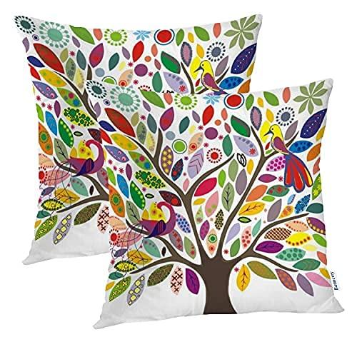 Natural Art - Juego de 2 fundas de almohada cuadradas de doble cara para sofá, decoración de otoño