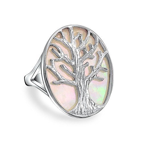 Bling Jewelry Large Statement Oval White Rainbow Abalone Shell Nature Family Wishing Tree of Life Ring for Women 925 Sterling Silver