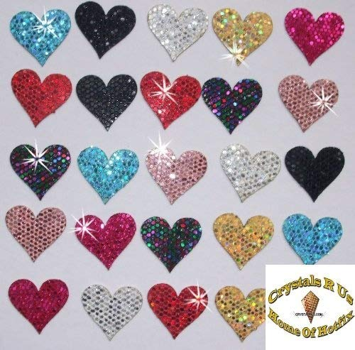 CrystalsRus 2 Packs = 48 Fabric Sequin 20mm Hearts Iron-On Fabric Transfer