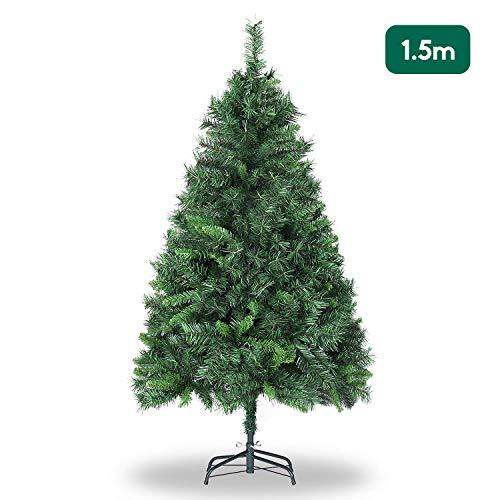 SALCAR Árbol de Navidad de 150 cm, Árbol Artificial con 408 Puntas, ignífugo, Abeto, construcción rápida Incl. Soporte para árbol de Navidad, Navidad decoración Verde 1.5 m