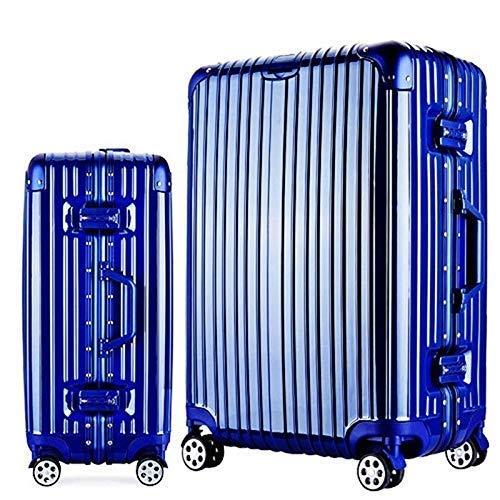 Langxj hj スーツケース キャリーバッグ100%PCポリカーボネート ダブルキャスター 二年安心保証 機内持込 アルミフレーム人気色 超軽量 TSAローク1520 (XXL, ブルー)