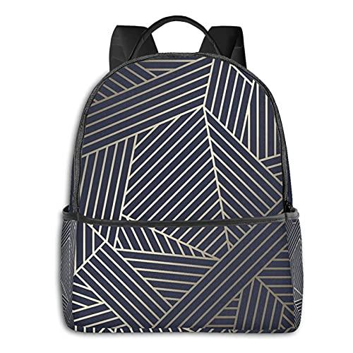 fepeng Mochila geométrica de oro para niñas niños viaje durable casual adolescentes Bookbag 15 pulgadas portátil universidad Daypack mujeres hombres, Negro, Talla única