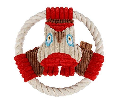 Dehner Hundespielzeug Aaron, mit Quietscher, Ø 20 cm, Polyester/Tau, beige/rot