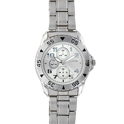 Jouailla 750113 - Orologio da uomo Lutetia, cassa e cinturino in metallo, quadrante colore argento