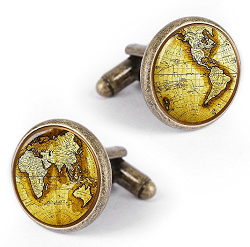 Kooer Vintage World Map Cufflinks Personalized Map of The World Cuff Links Gift for Men (Bronze)