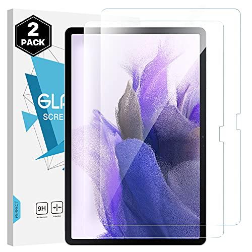 Dadanism Protector de Pantalla para Samsung Galaxy Tab S7 FE 12,4 2021(SM-T730/T736) & Galaxy Tab S7 Plus 2020, [2 PZS] Protectora Cubierta 9H Durable Ultra-Claro Transparente Película, Cristal Claro