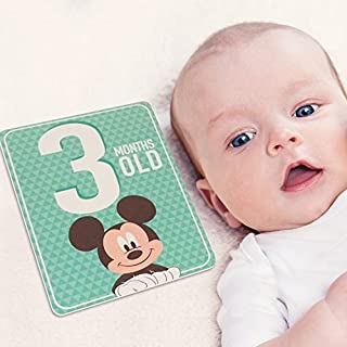 Disney Baby Boys Mickey Mouse Milestone Photo Sharing Cards, Age 0-12M, 12 Cards Gift Set